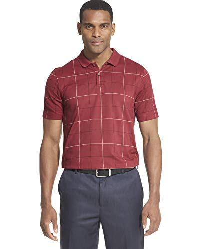 (Van Heusen Men's Big and Tall Flex Short Sleeve Stretch Windowpane Polo Shirt, Red Tibetan, 2X-Large)