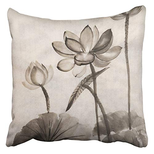 - Emvency Decorative Throw Pillow Covers Cases Landscape Original Watercolor Painting Lotus Asian Style Buddhism Drawing Flower Black Oriental 16x16 inches Pillowcases Case Cover Cushion Two Sided