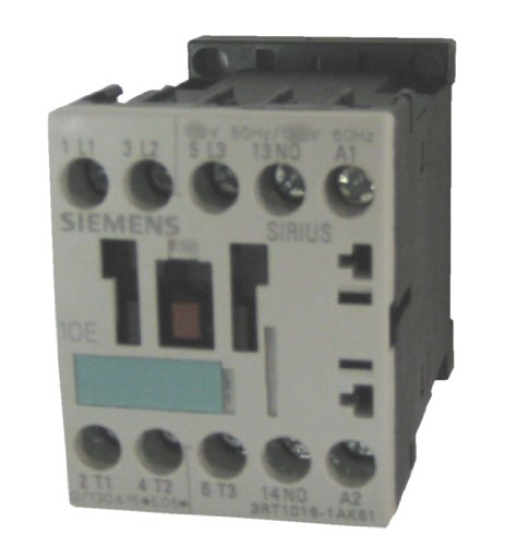 Siemens 3RT10 15-1AP62 Motor Contactor, 3 Poles, Screw Terminals, S00 Frame Size, 1 NC Auxiliary Contact, 240V at 60Hz and 220V at 50Hz AC Coil Voltage Voltage by Siemens