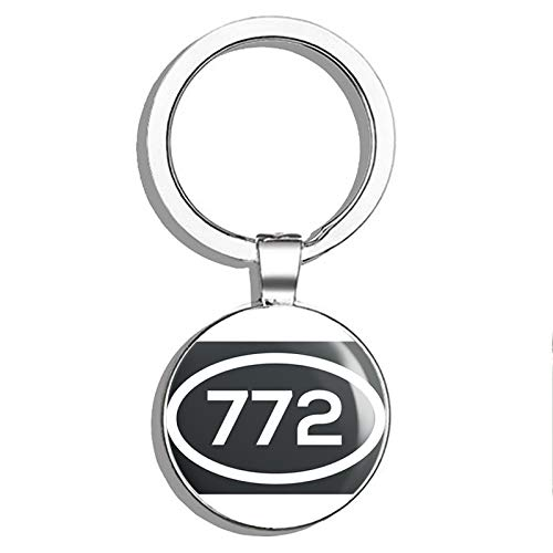 772 Area Code Sticker Florida Port Saint Lucie Fort Pierce Palm City Double Sided Stainless Steel Keychain Key Ring Chain Holder Car/Key Finder -