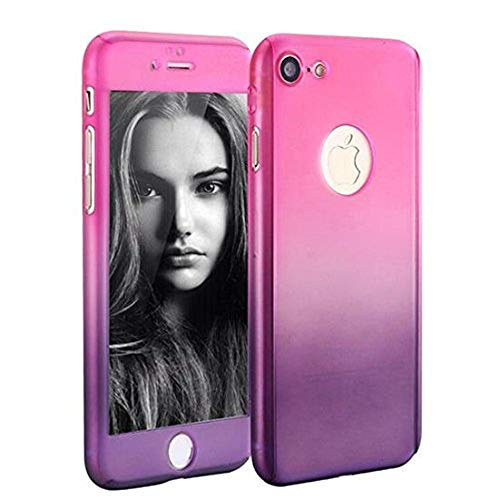 (iPhone 6 Plus/6s Plus Full Body Hard Case-Aurora Black Front and Back Cover with Tempered Glass Screen Protector for iPhone 6 Plus/6s Plus 5.5 Inch (pink to purple))