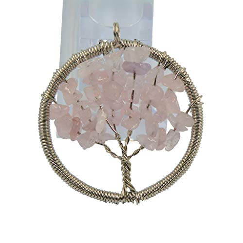 Natural Gemstone Beads Tree of Life Necklace Crystal Quartz Gemstone Pendant Necklace Jewelry Crafting Key Chain Bracelet Pendants Accessories Best| Color - Rose Quartz