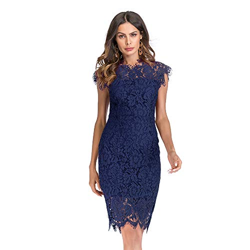 Women's Sleeveless Floral Lace Slim Evening Cocktail Mini Dress for Party DM261 (M, Blue) (Womens Black And Blue Lace Dress)