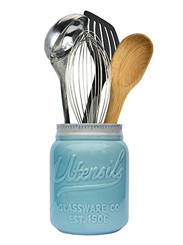 "Wide Mouth Mason Jar Utensil Holder Decorative Kitchenware Organizer Crock, Chip Resistant Ceramic, Dishwasher Safe - Kitchen Caddy Aqua Blue, Large Size 7"" High"