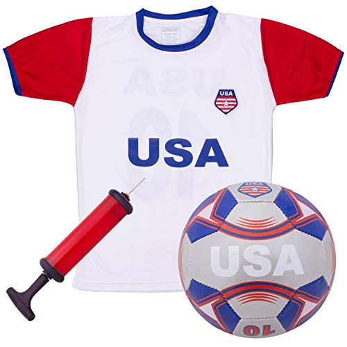 USA National Team Kids Soccer Kit | Cheer On Your Team and Wear Your National Colors | Kit Includes a Jersey, Shorts, and Soccer Ball Adorned with Red, White, and Blue Design (X-Large)