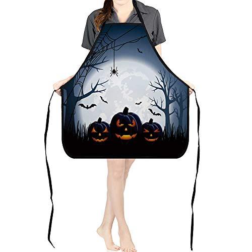 Jiahong Pan Chef Works Unisex Bib Apron Halloween Night Background with Pumpkins, Fully Adjustable Neck Bib -