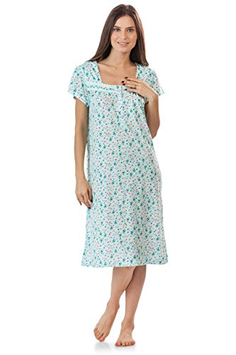 - Casual Nights Women's Lightweight Flowers Lace Cap Sleeves Nightgown - Floral/Green - Floral/X-Large