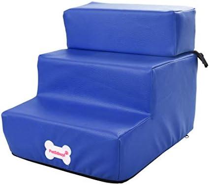 Pinji 3 Pasos de Escalera para Mascotas de Cuero de Imitación Funda Lavable y Extraíble, Escalera Blanda para Perros y Gatos Plegable: Amazon.es: Productos para mascotas