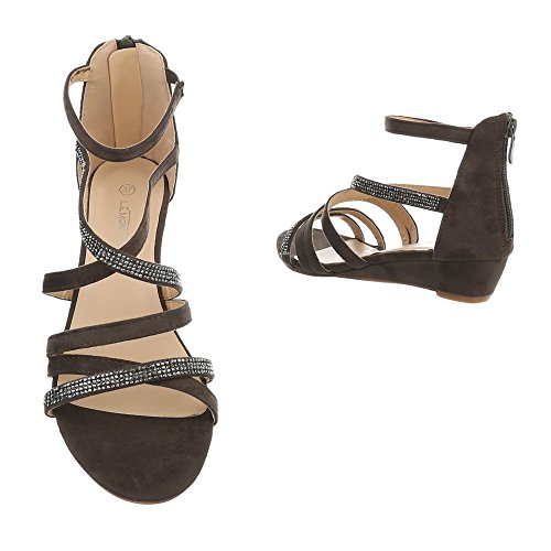 Ital-Design Keilsandaletten Damenschuhe Keilsandaletten Keilabsatz/Wedge Keilabsatz Reißverschluss Sandalen & Sandaletten Khaki