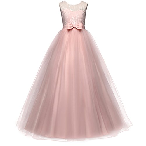 Little Girls Gown (Little Girls Retro Formal Deep-V Back Sleeveless Lace Vintage Princess Long Dress Bridesmaid Evening Floor Length Dance Gowns (Blush, 7-8 Years))