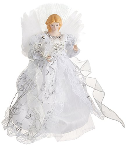 Kurt Adler CUL Fiber Optic LED Angel Christmas Treetop Figurine, 12-Inch, White and Silver