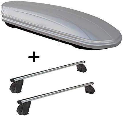 VDP Dachbox MAA580 580 Liter Silber + Dachträger K1 PRO Aluminium kompatibel mit Mercedes B (W246) (5Türer) 12-14