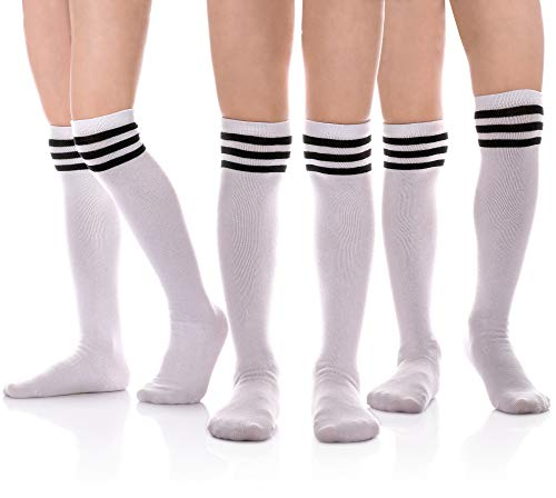 - MIUBEAR Girls Cotton Knee High Socks School Girls Uniform Soccer Sport Socks 3-13 Years Old Pack Of 3 (S - 3-5 Years - US Shoe - 8-10, Pack of 3 Stripe White)