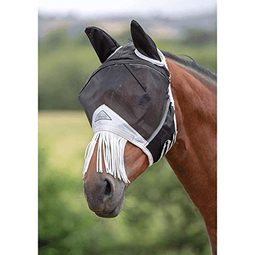 Shires Fine Mesh Fly Mask with Nose Fringe, Black, Pony by Shires