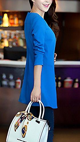 Blazer Monocromo Donna Unique Giacche Classiche Moda Rotondo Outerwear Blu Slim Casual Tailleur Donne Lunga Collo Lungo Manica Autunno Cappotto Primaverile Da Giacca Ufficio Eleganti Fit tr8wqIx8