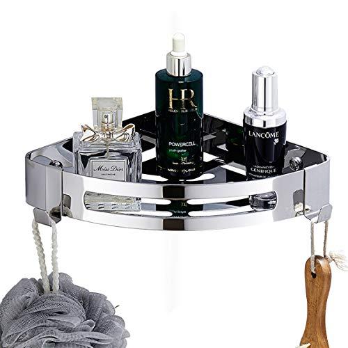 Wantacme Bathroom Corner Shower Caddy, Triangle SUS304 Stainless Steel Bathroom Corner Storage Shelf with 2 Movable Hooks, Drilling-Free Wall Mounted Corner Basket, Chrome & Polish Finish ()