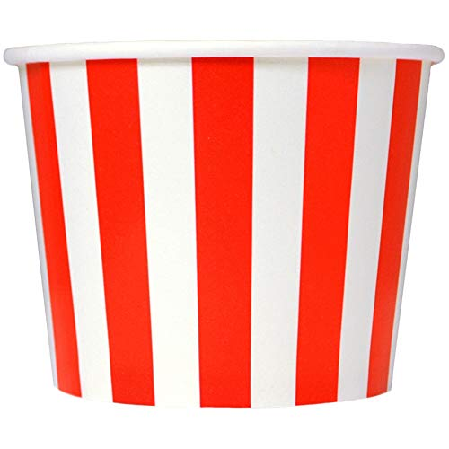 Valentine's Day Red Paper Ice Cream Cups - 16 oz Striped Disposable Bowls - Comes in Many Colors - Frozen Dessert Supplies - 50 Count