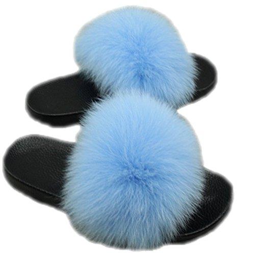 DTLDYG Bouche Bleu Peu Pantoufles Femelle Renard Profonde Fourrure Basse Maison en Peluche Hiver Automne Insère et Forme Clair rxwq7ar6