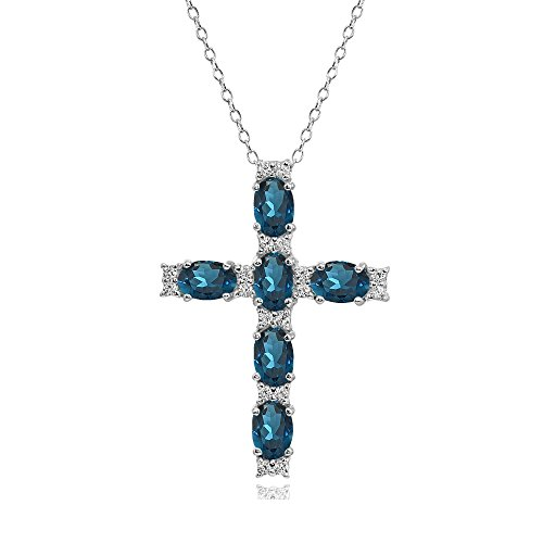 Sterling Silver London Blue Topaz Oval-Cut Cross Pendant Necklace with White Topaz Accents