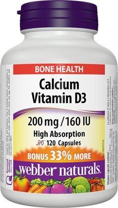 Webber Naturals Calcium Vitamin D3 200 mg/160 IU · High Absorption, 120 Capsules