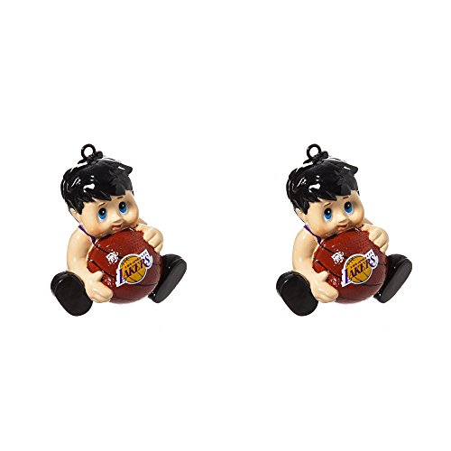 NBA Los Angeles Lakers Lil Fan Team Christmas Ornament Bundle 2 Pack By Evergreen by Forever Collectibles