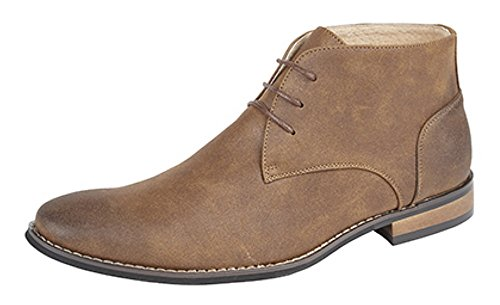 Men's Desert Style Boot with Faux Leather Upper and Leather Lining Distressed Tan