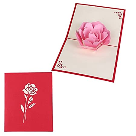 Kofun Greeting Card With Envelope 3d Rose Flower Pop Up