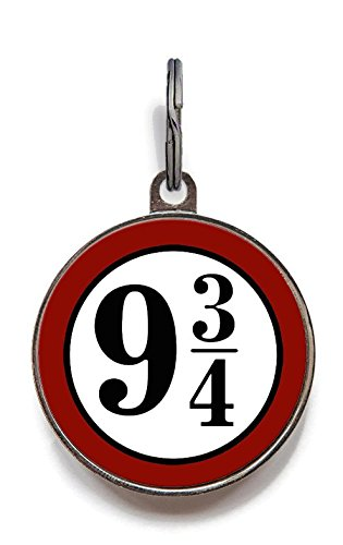 Image of Wag-A-Tude Tags Platform Nine and Three Quarters Pet Tag Cat Tag Dog Tag Custom Pet Tag (Large)