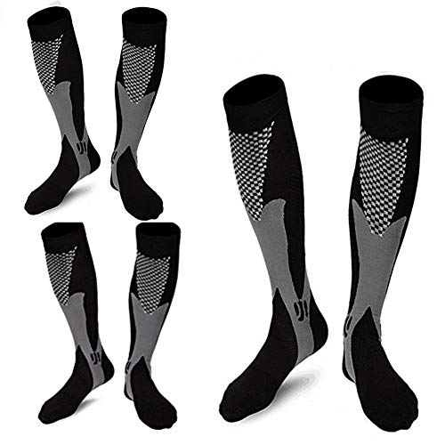 3 Pairs Medical&Althetic Compression Socks for Men, 20-30 mmHg Nursing Performance Socks for Edema, Diabetic, Varicose Veins,Shin Splints,Running Marathon (3Black)