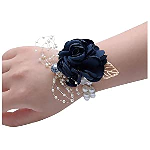 HappyERA Wedding Bride Bridesmaid Wrist Corsage Floral Hand Rose Bracelet Ceremony Party Prom Wrist Flower 86