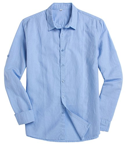 Chouyatou Men's Classic One-Pocket Linen Shirt Roll-Up Sleeve (XX-Large, Light Blue) Classic Twenty One Light