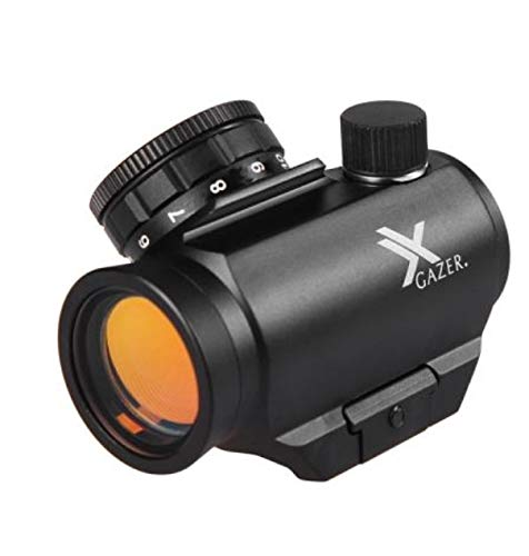 Xgazer Optics Red Dot Sight Riflescope 1 x 25mm, Waterproof, Fogproof & Shockproof, Amber-Bright Lens, Faster Target Acquisition For Hunting, Accuracy & Effectiveness For Rifles, Handgun, And Shotguns
