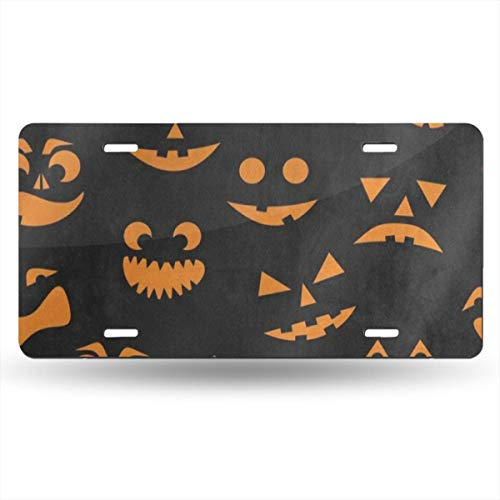 Pingshoes Orange Halloween Pumpkin Cat License Plates AluminumLicense Plate Frame Cover Metal Signs Tag with 4 Holes for Car Decoration 6 x 12 inch -