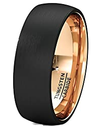 Mens Wedding Band Two Tone Black Rose Gold Tungsten Ring Brushed Center Dome 8mm Comfort Fit