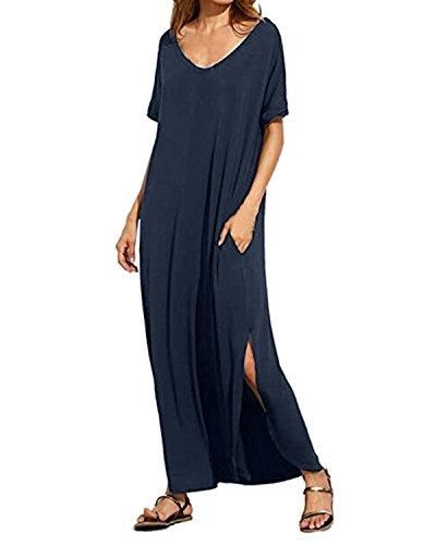 Decontracte Plage avec Taille Kidsform Femme Grande Longue Tunique Manche Courte Poches Marine Robe SaOawE