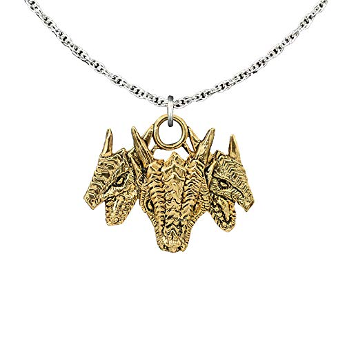 Creative Pewter Designs Three Headed Dragon 22K Gold Plated Pendant, Necklace, Jewelry, GG046PEN ()