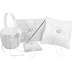 White Wedding Accesorries Wedding GuestBook+Pen Set+Flower Girl Basket+Ring Bearer Pillow,Decor Ribbon Bowknot Double Heart Diamante Crystal Rhinestone Buckle, Elegant Wedding Ceremony Party