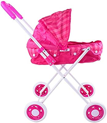 Doll Trolley Girls Carrito simulado Cochecito Cochecito Juguetes para niños Sillas de Paseo Portátil Juego de Roles para bebés Muñecas Cochecito para ...