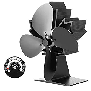 KINDEN Wood Stove Fan - Heat Powered Silent Operation 4 Blades with Stove Thermometer for Wood/Log Burner/Fireplace No Electricity Required- Eco-Friendly (2018 New Designed)