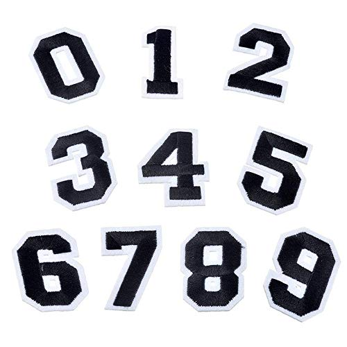 Numbers Patches Set Sew On Appliques Embroidered Iron on Patch 0-9 Stickers Badges DIY Accessories for Clothing,Jeans,Hat,Jackets,School Projects,Sports or Camps(10 PCS)