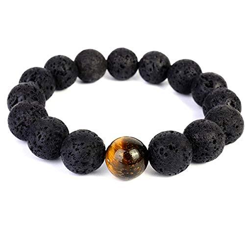 aSulis Men Bracelet 12mm Lava Rock Tiger Eye Bracelet Elastic Natural Stone Yoga Beads Bracelet Bangle (12mm - Lava)