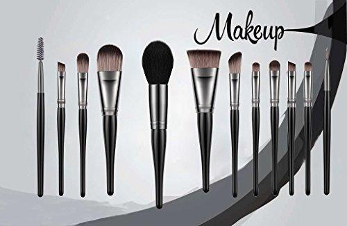 Makeup Brushes 12pcs Premium Makeup Brush Set with Black Wood Handle for Foundation Blending Blush Concealer Eye Shadow Face Cosmetic Brushes