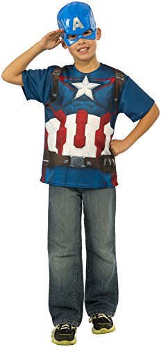 Rubie's Costume Avengers 2 Age of Ultron Child's Captain America T-Shirt and Mask, Medium