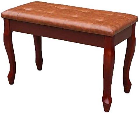 2人の補助のピアノのためのストレージ湾曲した脚通気性のベンチエレクトリックピアノの椅子レザーピアノスツールソリッドウッドピアノベンチ (Color : Brown, Size : 75x35x50cm)