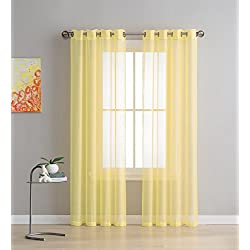 Grommet Semi-Sheer Curtains - 2 Pieces - Total Size 108 Inch Wide (54 Inch Each Panel) - 108 Inch Long - Panel Beautiful, Elegant, Natural Light Flow, and Durable Material Yellow