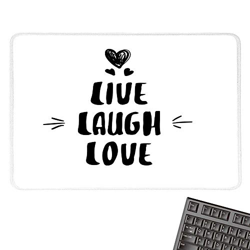 (Live Laugh Love DecorOffice Mouse PadCute Doodle Hearts Hand Drawn Modern Lettering Arrows HappinessWaterproof Mice Pad 15.7