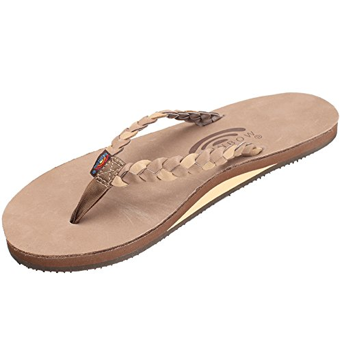 (Rainbow Sandals Women's Single Layer Premier Leather w/Double Braided Strap, Dark Brown/Sierra Brown, Ladies Medium / 6.5-7.5 B(M) US)