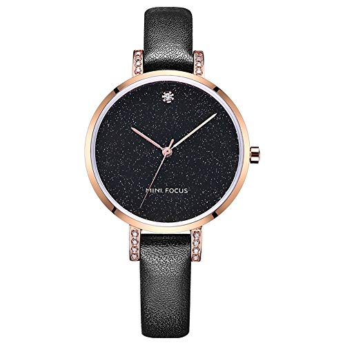 (Quartz Watch for Women,STONE Analog Watch Fashion Ladies Wrist Watch with Black Leather Band Starlight Dial Large Face)