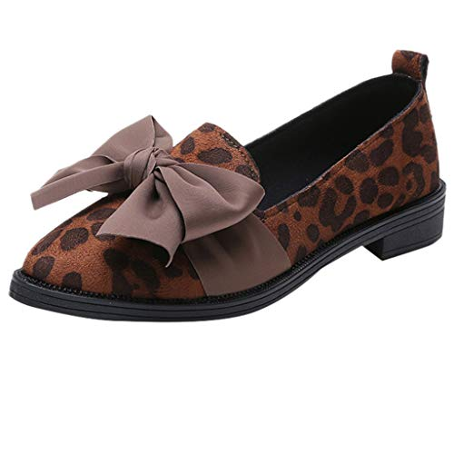 b7559f08ee3d95 Teresamoon Women Pointed Toe Flock Slip-On Shoes Leopard Print Jobs Single