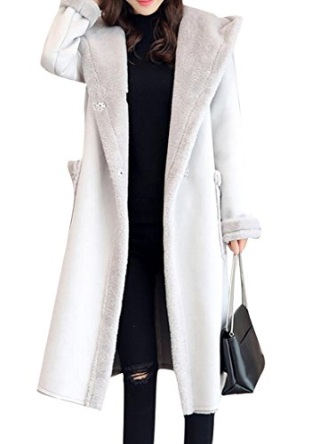 Faux Suede Hooded Coat - BYWX-Women Hoodie Faux Long Suede Lamb Wool Coat Shearling Jacket Light Grey US S